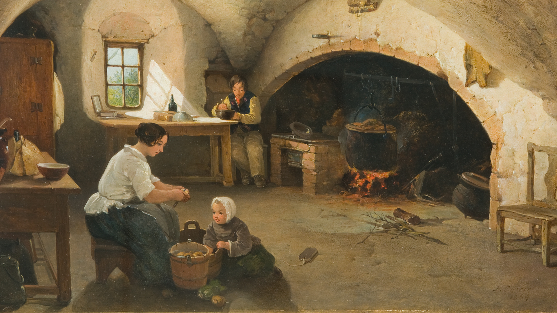 The-Kitchen-Barra-Castle-Aberdeenshire-1854-by-James-Cassie