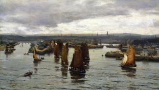 The-Herring-Fleet-Leaving-the-Dee-Aberdeen-1888-by_David_Farquharson